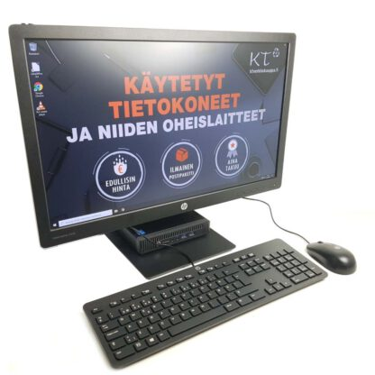 HP Mini-PC konepaketti + 23 -tuuman näyttö, hiiri sekä näppäimistö